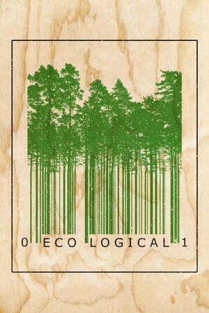 forest products: Ecological natural product bar code concept with green trees silhouettes over wooden texture