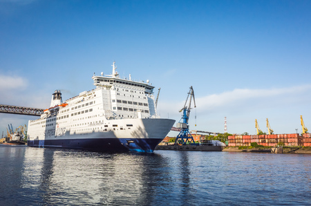 spl: St-Petersburg, Russia - June 7, 2016: White passenger ferry ship passing Saint-Petersburg Sea Channel near Kanonersky island. MS SPL Princess Anastasia is cruise ferry owned by St. Peter Line