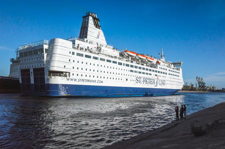 spl: St-Petersburg, Russia - June 7, 2016: White passenger ferry ship passing Saint-Petersburg Sea Channel. MS SPL Princess Anastasia is a cruise ferry owned by St. Peter Line