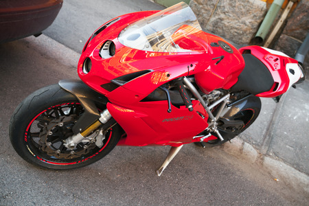 Helsinki, Finland - May 21, 2016: Red Ducati 749, it is a V-twin Desmodromic valve actuated engine sport bike by Ducati Motor Holding between 2003 and 2006. Designed by Pierre Terblanche