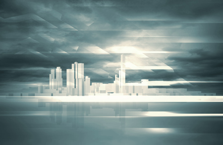 dramatic sky: Abstract contemporary background. Cityscape skyline, dramatic sky and polygonal structures layer. Blue toned digital 3d render illustration Stock Photo