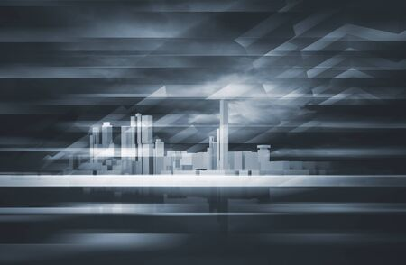 sky  dramatic: Abstract contemporary background. Cityscape skyline, dark dramatic sky and polygonal structures layer. Blue toned digital 3d render illustration