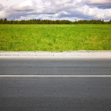 Empty highway roadside with white dividing line. Green summer grass and forest on a background