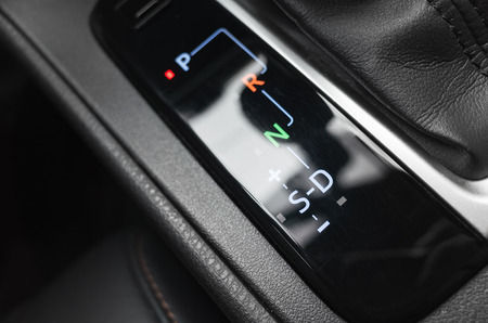 indication: Modern luxury car with automatic transmission, gear selector indication Stock Photo