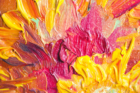 fragment: Oil painting, close up fragment with bright red and yellow flowers