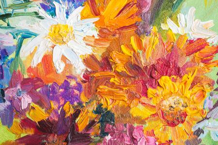 Olieverfschilderij, close-up fragment met kleurrijke boeket van zomerbloemen