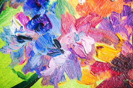 Oil Painting Close Up Fragment With Colorful Flowers Photo