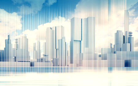 dramatic sky: Abstract contemporary city background. Cityscape skyline, dramatic sky and wire frame lines pattern layer. Blue toned digital 3d render illustration Stock Photo