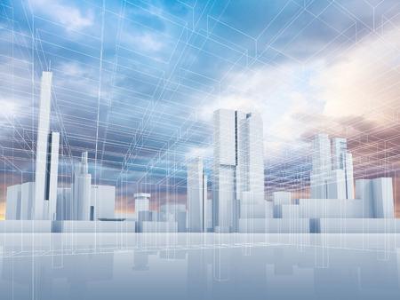 추상 현대 도시 배경. 도시의 스카이 라인, 화려한 하늘과 와이어 프레임 라인 패턴 층. 블루 톤의 디지털 3D 그림 렌더링