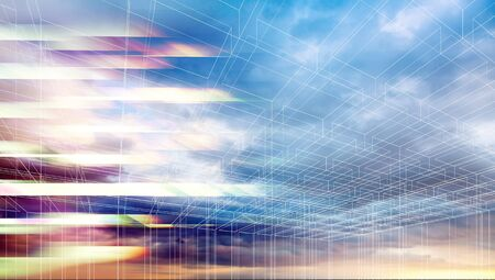 wire frame: Abstract colorful digital graphic background. Wire frame lines and striped pattern over colorful dramatic cloudy sky. 3d render illustration Stock Photo