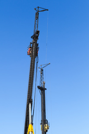 boring rig: Construction industry equipment, machines for drilling wells and the installation of piles Stock Photo
