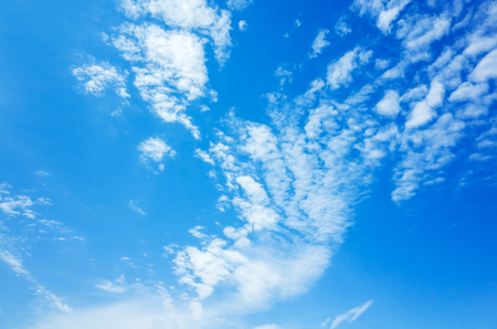 altocumulus: Natural bright blue sky with white altocumulus clouds, background photo texture Stock Photo