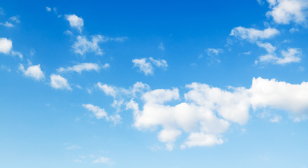 altocumulus: Blue sky with white altocumulus clouds, panoramic nature background photo texture Stock Photo