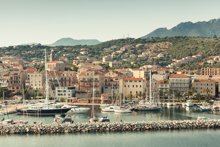 tonal: Propriano port, Seaside view, South Corsica, France. Vintage tonal correction filter, old style filter effect