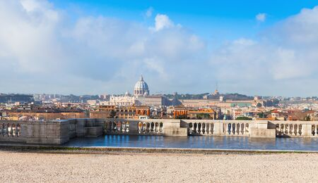 st  peter: Panoramic cityscape of Rome, Italy. The Papal Basilica of St. Peter in the Vatican as a main landmark dominant, view from the Pincian Hill