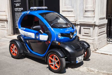 ze: Istanbul, Turkey - July 1, 2016: Renault Z.E. all-electric car as a traffic police car in Istanbul