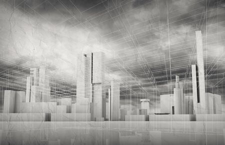 dramatic sky: Abstract contemporary city background. Cityscape skyline, dramatic sky and wire frame lines pattern layer. Monochrome 3d render illustration