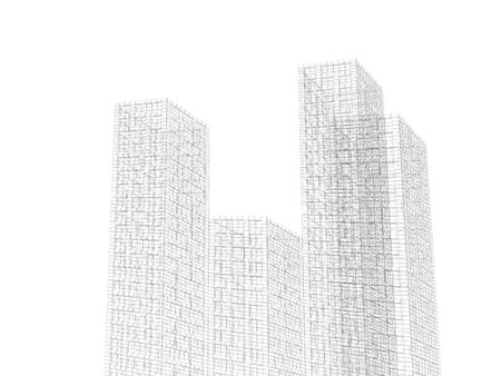 wire frame: Digital graphic background. Abstract buildings cluster, black wire frame lines isolated on white background. 3d render illustration