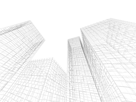 wire frame: Digital graphic background. Abstract buildings perspective view, black wire frame lines isolated on white background. 3d render illustration