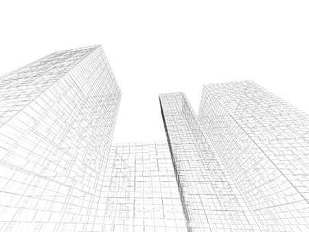 wire frame: Digital graphic background. Abstract tall buildings perspective view, black wire frame lines isolated on white background. 3d render illustration