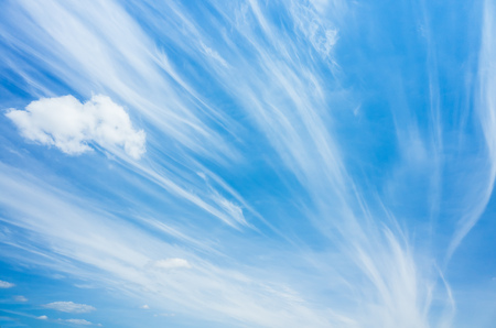 cirrus clouds: Cirrus clouds in blue windy sky, natural background photo