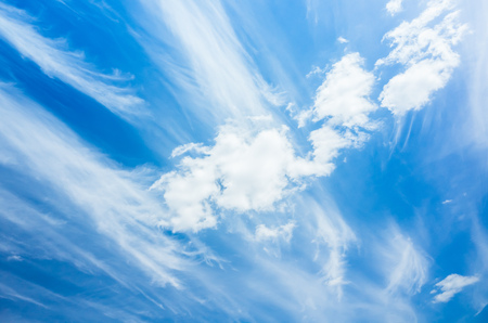 cirrus clouds: White cirrus clouds, natural blue cloudy sky background photo