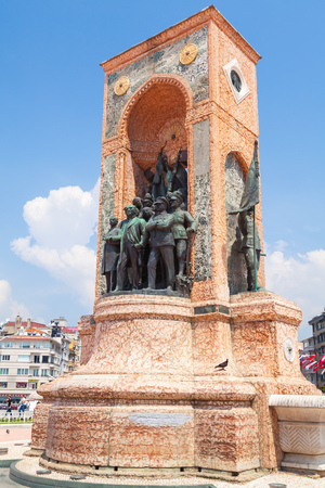 Istanbul, Turkey - July 1, 2016: The Republic Monument on Taksim square, Istanbul
