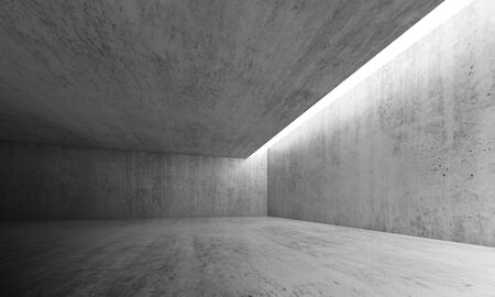 empty space: Abstract architecture interior background, empty concrete room with lighting in ceiling, 3d illustration Stock Photo