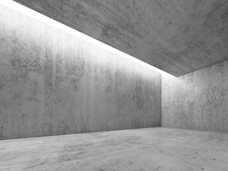 skylight: Abstract architecture interior background, concrete room with white lighting in ceiling, 3d illustration