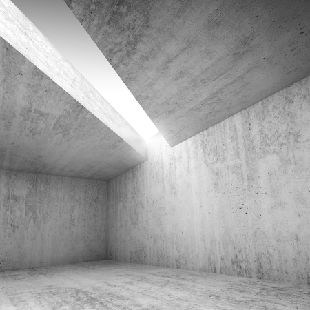 architecture: Abstract architecture, square background, empty concrete room interior with white light opening in ceiling, 3d illustration Stock Photo