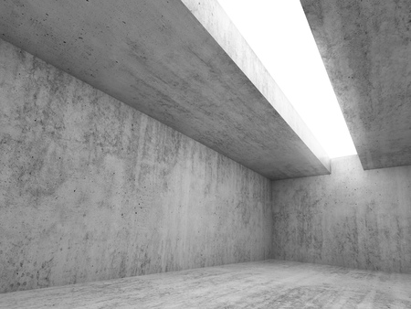 skylight: Abstract architecture interior background, empty concrete room with white lighting in ceiling, 3d illustration