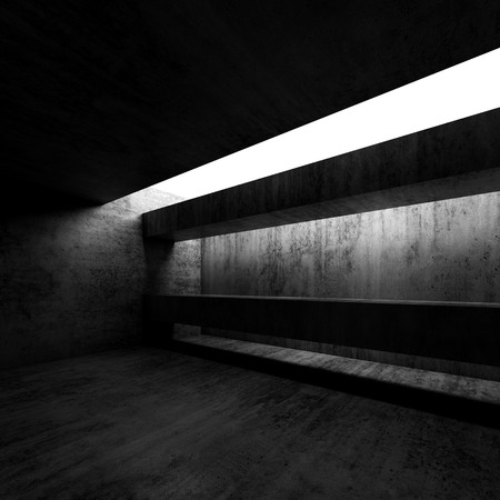 black wall: Abstract empty concrete dark room interior. Modern architecture background, square 3d render illustration