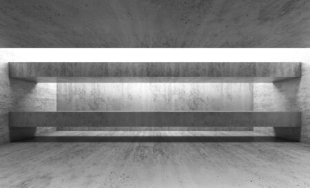 girders: Abstract empty gray concrete interior. Modern architecture background, 3d render illustration