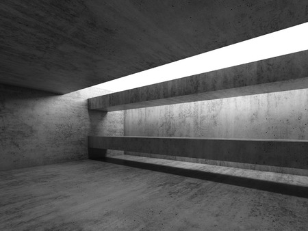 Abstract empty concrete room interior. Modern architecture background, 3d render illustration 版權商用圖片