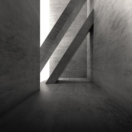 stage door: Abstract empty dark concrete interior. Modern architecture background, square 3d render illustration