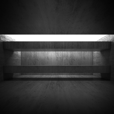 girders: Abstract empty black concrete interior with girders. Modern architecture background, square 3d render illustration