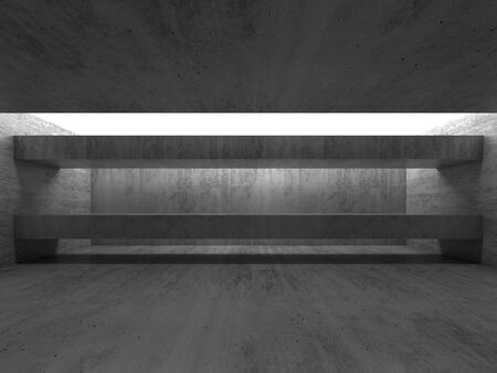 girders: Abstract empty black concrete interior with girders. Modern architecture background, 3d render illustration