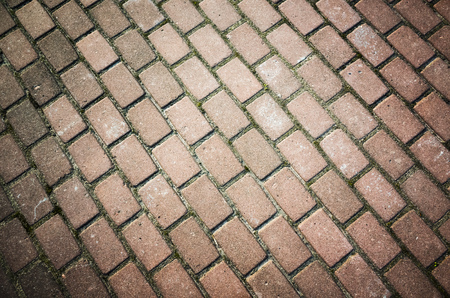 cobblestone road: Old red cobblestone road pavement, background photo texture