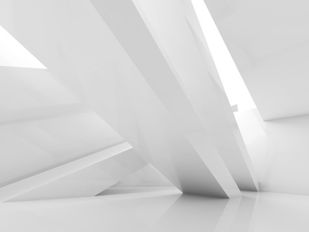 illumination: Abstract white interior background, empty room with beams and soft illumination. Digital 3d illustration, computer graphic