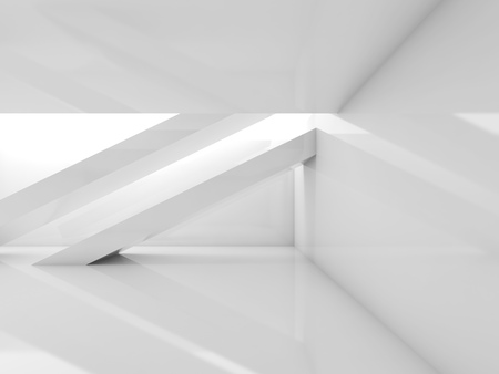 girders: White room with beams and soft illumination. Abstract empty contemporary interior background. 3d illustration