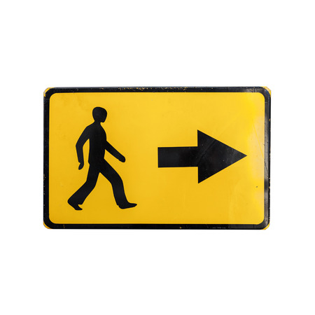 bypass: Pedestrians bypass direction. Yellow road sign isolated on white background