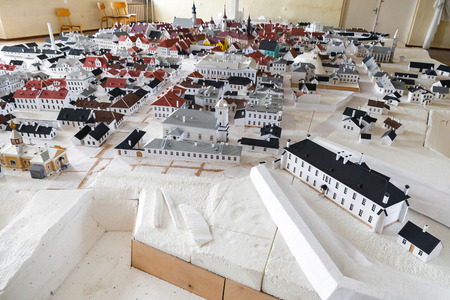 illustrates: Narva, Estonia - April 30, 2016: Old Narva town layout made of paper illustrates historical cityscape before the Second World War when it was totally destroyed with air bombs