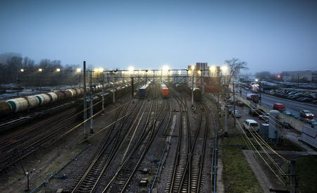 sorting: Sorting railway station with cargo trains at night