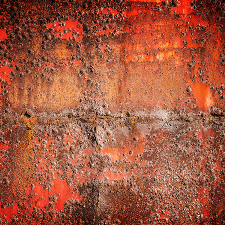 corrosion: Old red rusted iron wall, square industrial background photo texture