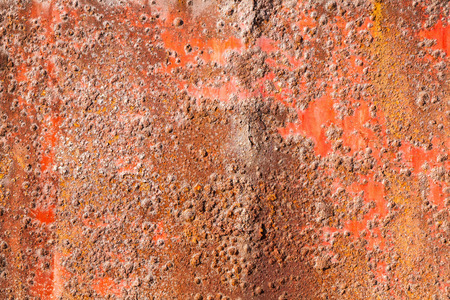 Old red rusted iron wall, background photo texture Stock Photo