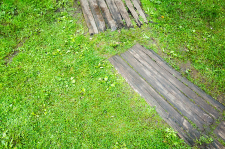 decking: Old gray wooden decking on green lawn grass in park