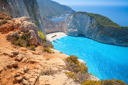 ionian island: Navagio or Shipwreck beach. The most famous landmark of Greek island Zakynthos in the Ionian Sea