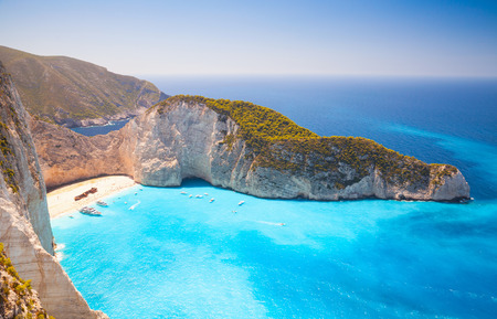 Navagio beach. The most famous landmark of Greek island Zakynthos in the Ionian Sea Stock Photo