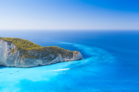 ionian island: Navagio Bay. The most famous landmark of Greek island Zakynthos in the Ionian Sea Stock Photo