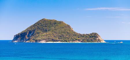 islet: Marathonisi islet near Greek island Zakynthos in the Ionian Sea Stock Photo